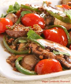 Coriander Mushrooms with Cherry Tomatoes from the vegan cookbook Appetite for Reduction