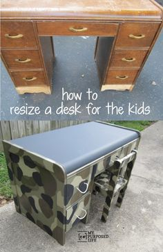 How to cut down an old damaged desk down to make it a kid sized desk. Cutting the desk got rid of all the damaged veneer. Shabby Chic Bedroom Furniture, Kids Bedroom Furniture, Space Saving Furniture, Furniture Logo, Cheap Furniture, Furniture Projects, Home Furniture, Kitchen Furniture, Lego Bedroom
