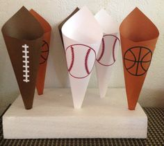 SPORTS TRIO Snack/Candy paper cones perfect for any sports party, birthday, baby shower, end of season party baseball football basketball