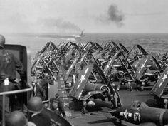 Vought F4U's on board the aircraft carrier USS Bunker Hill (CV-17)