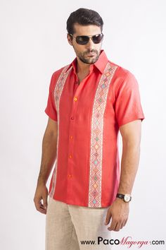 coral linen guayabera from San Andrés Larrainzar Mexican Fashion, Mexican Outfit, Guayabera Shirt, Men Looks, Collar Shirts, Colorful Shirts, Vintage Outfits, Cool Outfits, Men Casual