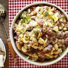 Red potatoes in your Potato Salad adds color and flavor! More favorite Fourth recipes here: http://www.bhg.com/holidays/july-4th/recipes/4th-july-recipes/?socsrc=bhgpin070314potatosalad&page=8