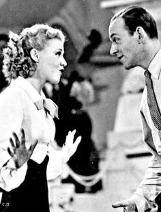 Love the eye contact they have together. Fred Astaire and Ginger Rogers Classic Hollywood, Old Hollywood, Hollywood Glamour, Hollywood Stars, Physical Comedy, Fred And Ginger, Biological Father, Ginger Rogers, Hero's Journey