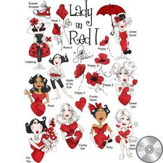 Lady in Red 1 Embroidery Design Collection | CD - Embroidery Designs – Loralie Designs