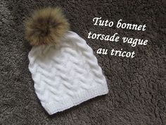 TUTO BONNET TORSADE VAGUE TRICOT Hat beanie knitting GORRO DE TRENZAS AGUJAS - YouTube