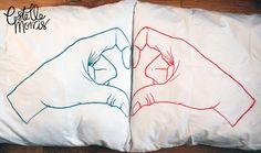 Love Heart Hands Illustrated Pillow Case Set