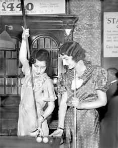 Miss Gardner and Miss Carpenter play for Ralph Lynn's billiards trophy, May 27, 1935.