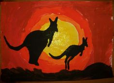 kangourou au coucher de soleil