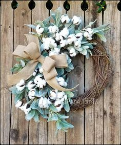 Lambs Ear Wreath, Cotton Wreath, Front Door Wreath, Fixer Upper Decor, Cotton Boll Wreath, Outdoor Wreaths, Farmhouse Wreath, Fall Wreath, Burlap Wreath Cotton Grapevine Wreath perfect for your Farmhouse, Rustic, Shabby Chic or Southern Charm Decor!! The base of the wreath is an 18
