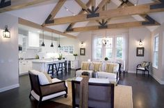 This is just what we have in mind. Beautiful trusses. Open  plan living