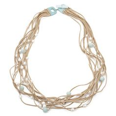 White Pearl & Amazonite on Leather