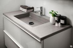 Unikt handfat i betong till IKEA kommod Basement Bathroom, Bathroom Ideas, Basin, Plan, Concrete, Ikea, New Homes, Birch, Bathrooms