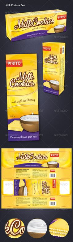 Cookies Box by Nice Milk Biscuits Box template. Dimensions of box: 21075 x 55 mm.ai file and linked to it .psd file with Cookie Recipes From Scratch, Easy Cookie Recipes, Cookie Box, Cookie Cups, Milk Biscuits, Super Cookies, Cookie Packaging, Box Packaging, Cookie Cake Birthday