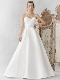 Satin strapless ballgown with beaded waist and beaded illusion back panel available off-the-rack at Silk Bridal Studio. Bridal Dresses Online, Bridal Gowns, Wedding Gowns, Wedding Attire, Wedding Dress Prices, Designer Wedding Dresses, Wedding Stuff, Ball Dresses, Ball Gowns