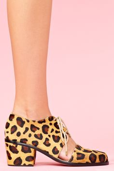 Today's So Shoe Me is the Split Brogue Boot by Shakuhachi, $298, available at Nasty Gal. Add some animal instincts into your current wardrobe with these luxe leopard pony hair brogues.