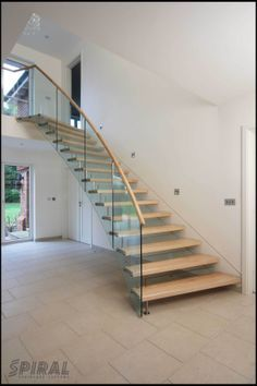 Image result for straight staircase with glass balustrade#