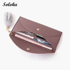 4e3d23f075 US $4.08 14% OFF 1pc Women Wallet Female Long Hasp Leather Female Fashion  Purse Coin Feathers New Wallets Ladies Bag-in Wallets from Luggage & Bags  on ...
