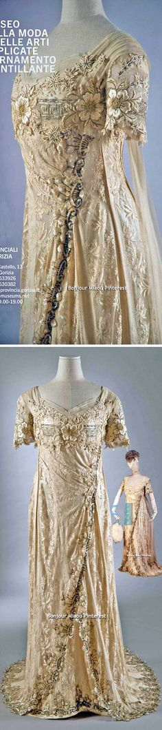 Evening dress, central European, ca. 1908-10. Museum of Fashion & Applied Arts, Gorizia, Italy