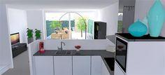 Keukenontwerp concept ibbA Almere | onafhankelijk keukenadvies | Huis & Interieur. Vanuit de keuken heb je ook nog uitzicht op de tuin.