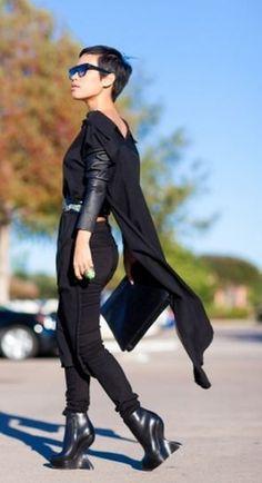 NINI BLACK WOOL TUNIC and blue #sunglasses http://www.smartbuyglasses.com/designer-sunglasses/Celine/Celine-CL-41098/F/S-Cathrine-Small-Asian-Fit-QLT/Z3-270912.html