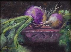 Turnips by Steve Bourgeois Oil ~ 6 x 8 Drawing Lessons, Natural Forms, Artichoke, Still Life, Seeds, Paintings, Autumn, Oil, Watercolor