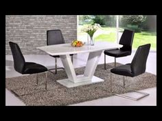 White glass dining table and chairs set