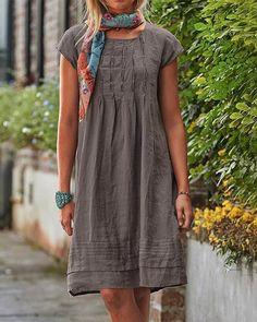 Vintage Casual Solid Linen Women Dresses Vintage Shorts, Vintage Dresses, Linen Dresses, Casual Dresses, Cotton Dresses, Midi Dresses, Floryday Vestidos, Creation Couture, Loungewear Set
