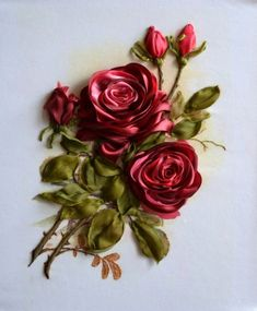 Wonderful Ribbon Embroidery Flowers by Hand Ideas. Enchanting Ribbon Embroidery Flowers by Hand Ideas. Ribbon Garland, Ribbon Art, Ribbon Crafts, Ribbon Flower, Satin Ribbon Roses, Satin Flowers, Fabric Flowers, Ribbon Embroidery Tutorial, Silk Ribbon Embroidery