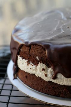"Salted Caramel ""Ding Dong"" Cake Recipe ~ ultra smooth caramel chocolate ganache, fluffy whipped cream filling, and rich chocolate cake"