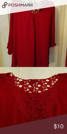 3/4sleeve.. crochet back blouse Runs smaller than size.. color is more marroon in person zenobla Tops Blouses