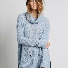 Free People Blue Complex Pullover Sweater Size Small