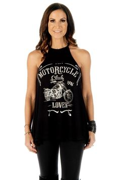 Women's Biker T-Shirts - Motorcycle Lover American made by Liberty Wear, ladies biker relaxed fit high neck halter style top with cute bling motorcycle graphics Biker Shirts, Rock Shirts, Sexy Shirts, Lady Biker, Biker Girl, Tank Shirt, Old Women, Tunic Tops, Clothes For Women