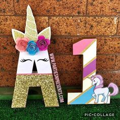 Unicorn initial and age number cutouts Unicorn Pinata, Rainbow Unicorn Party, Unicorn Themed Birthday Party, Cute Unicorn, First Birthday Parties, First Birthdays, Beautiful Unicorn, Unicorn Head, Kids Party Themes