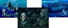 Abyssal Mermaid Manta Ray Mermaid and Big Blue by strangeling