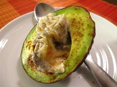 Warmed Avocado with Bonne Bouche and Spanish Spices
