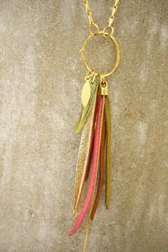 Long Necklace Leather Necklace Bird of Paradise by zozichic, $89.00