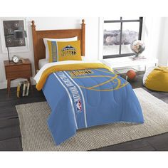 Kids NBA Northwest Nuggets Twin Comforter Set Denver Pepsi Center Navy Blue Yellow Sports Bedding Nuggets Merchandise Team Spirit Basketball Themed
