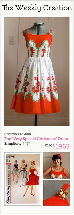 Very cool dress made with a vintage Christmas tablecloth!!!  I want one!