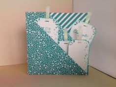 """Double fold card with tags, using Stampin""""Up! Bermuda Bay Brights Colour Collection, Whisper White Cardstock and Timeless Textures Stampset."""