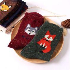 Las mujeres de la vendimia marca retro animales patrones de calcetines de lana de conejo otoño invierno de la historieta linda fox lobo calcetines de algodón de abrigo