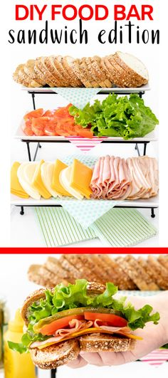 Sandwich Bar Party station ideas that are perfect for any occasion. Your party will be a hit with this beautiful spread! Sandwich Buffet, Sandwich Platter, Lunch Buffet, Party Buffet, Best Sandwich, Lunch Menu, Sandwich Ideas, Party Trays, Christmas Sandwiches