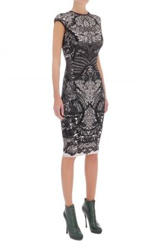 Alexander Mcqueen Black Victorian Puckering Lace Jacquard Cap-Sleeve Pencil Dress 3