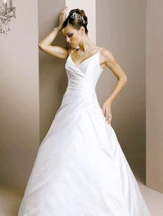 Fluffy Straps V-Neck Ruffle Applique Simple Satin Court Train Wedding Dress