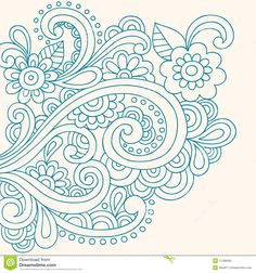 Doodle Henna Abstract Flowers And Swirls Vector Stock Photo ...