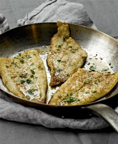 Sole Meuniere, a simple fish dish drenched in butter & herbs, pan fried, and served with the browned juices. This dish was Julia Child's first exposure to French cooking, and it changed her life forever. Butter does that to people.