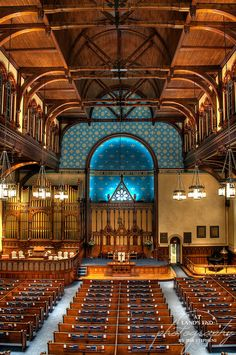 Taken inside the Old Stone Church on Public Square in Cleveland.  The woodwork is beautiful. It dates back to 1884 after the church was restored following the second fire.