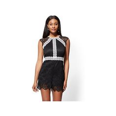 13bae7508c0d Contrasting Lace Romper ( 20) ❤ liked on Polyvore featuring jumpsuits