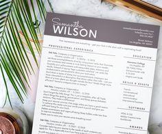 delicate resume template instant download resume for word elegant beige script cv professional resume creative resume clean resume - Modern Professional Resume