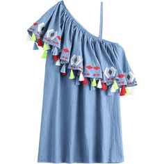One Shoulder Flounce Tassels Shift Dress ($21) ❤ liked on Polyvore featuring dresses, off one shoulder dress, blue shift dress, flutter-sleeve dress, shift dresses and tassel dress