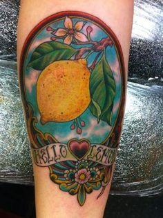 Elegant Lemon Tattoo On Arm